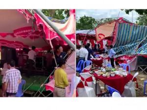 Bão số 9 cuốn phăng rạp cưới ở Bình Thuận, quan khách đang dự tiệc bỏ chạy tán loạn