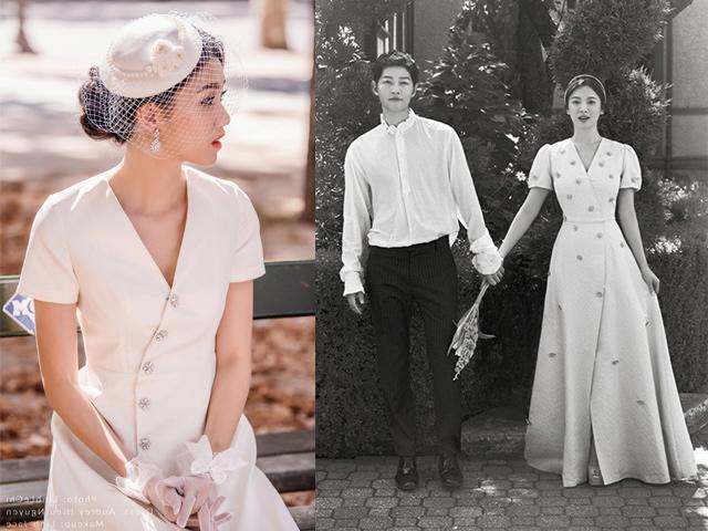 Á hậu Thanh Tú đẹp như công nương với váy cưới lấy cảm hứng từ Song Hye Kyo