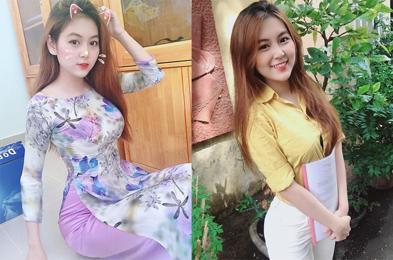 1. Cô giáo từng làm người mẫu nội y  Trần Thị Nam Trân, sinh năm 1996, từng là hot girl trường Đại học Sư phạm thành phố Hồ Chí Minh.