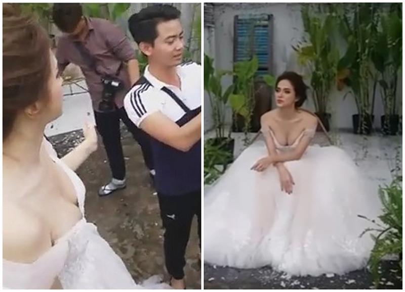 Hoa hậu Hương Giang cũng từng mắc phải lỗi trang phục, khi diện một chiếc váy xinh đẹp như công chúa, nhưng phần ngực lại bị o ép quá mức, như muốn nhảy ra ngoài.