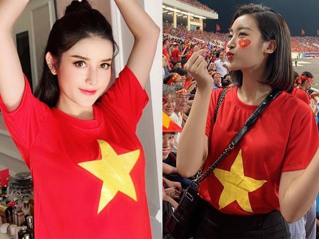 Bất ngờ trước nhan sắc của Đỗ Mỹ Linh, Huyền My trên khán đài AFF cổ vũ ĐT Việt Nam