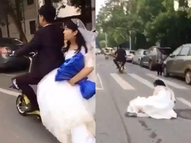 Chú rể đánh rơi vợ giữa đường mà không biết, cô dâu ngã chỏng vó ngồi ăn vạ