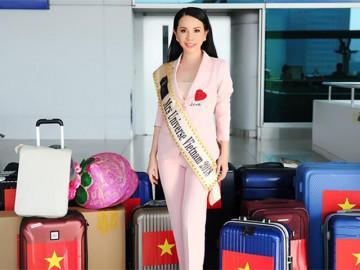 Hoa hậu Châu Ngọc Bích mang 'hành lý khủng' đến Mrs Universe 2018