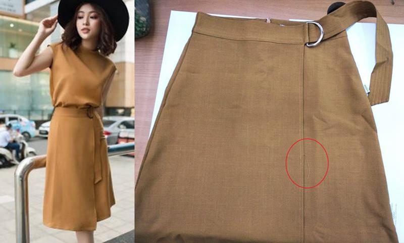 """Chiếc váy chị Q. đặt mua được giới thiệu: """"Sản phẩm được làm từ chất liệu vải thô chun Hàn Quốc, vải co giãn, mịn mát, có khả năng thấm mồ hôi được sale còn 419K. Và sau khi nhận được là một chiếc váy khác hoàn toàn, đường may lại bị lỗi."""