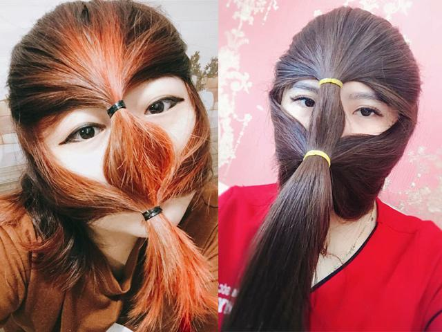 Khi mái tóc dài được tận dụng làm mặt nạ chống nắng, chuyện thật tưởng như đùa!