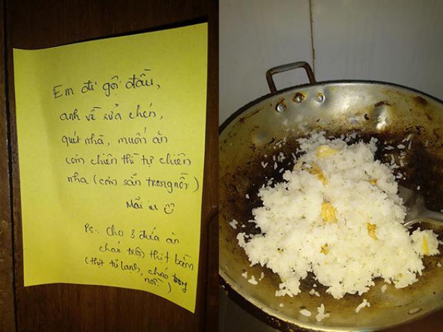 Mẩu giấy nhắn bá đạo của vợ khiến chồng vừa làm việc nhà vừa mếu