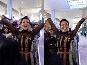 H'Hen Niê diện váy Ê Đê trở về nước trong vòng vây yêu thương của người hâm mộ