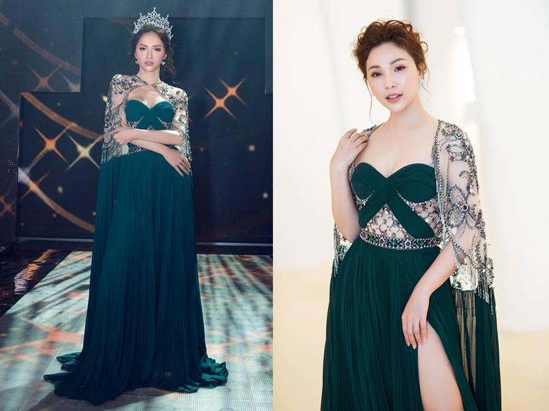 Quỳnh Thư vừa có màn đụng độ thời trang gây cấn với Hoa hậu Hương Giang, cả hai đều được khen ngợi trong chiếc váy cut out lộng lẫy của NTK Đỗ Long.
