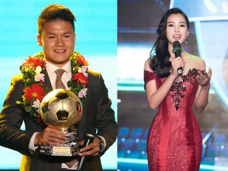 Hoa hậu Tiểu Vy diện váy cúp ngực, xướng tên Quang Hải nhận Quả bóng vàng 2018