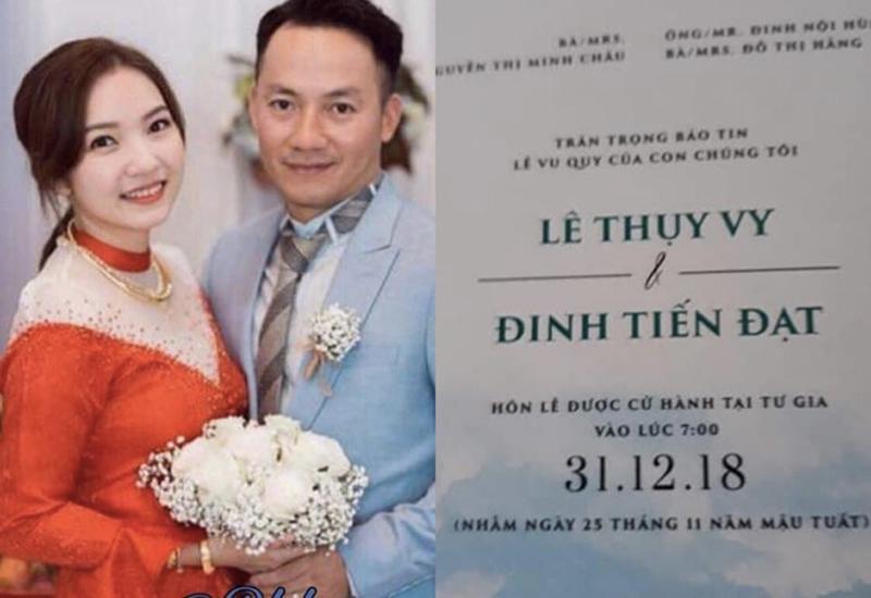 Mạng xã hội chia sẻ hình ảnh được cho là chụp từ đám hỏi của Đinh Tiến Đạt và bạn gái. Cùng với đó, thiệp cưới của rapper Đinh Tiến Đạt cũng được hé lộ. Theo thông tin, cô dâu tên là Lê Thụy Vy và hôn lễ được tổ chức tại nhà riêng vào ngày 31/12 tới đây.