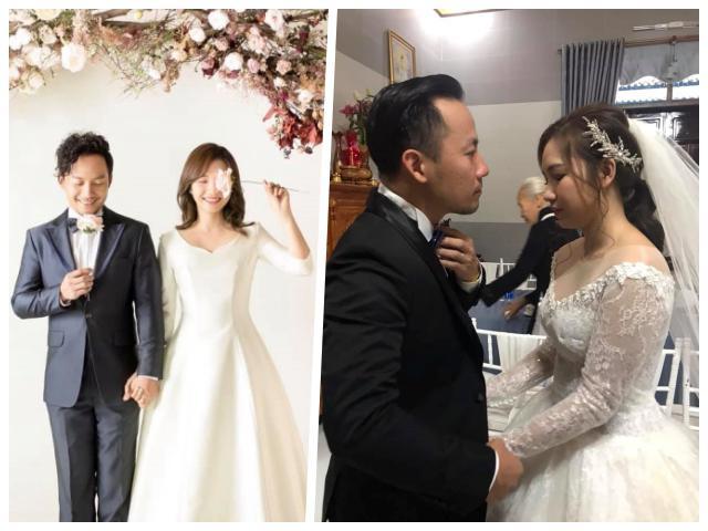 Tiến Đạt được cô dâu Thụy Vy ân cần tỉ mỉ sửa sang quần áo trong đám cưới bí mật