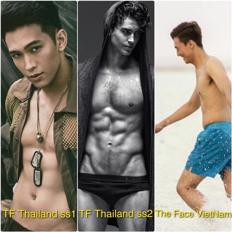 Theo đó, hình ảnh của hai anh chàng quán quân The Face Men Thái Lan, cũng được mang ra so sánh với hình ảnh kém thon gọn của Trung Kiên.